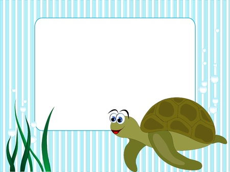 Blue stripped background with grass and turtle Vector