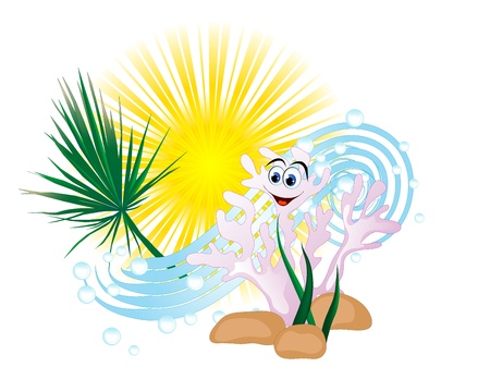 wavelet: Summer icon with sun, wave and coral Illustration