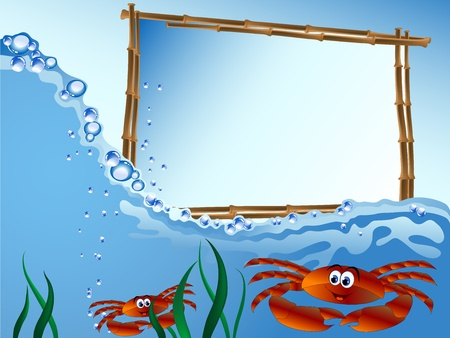 Bamboo frame on the sea level with two crabs Vector