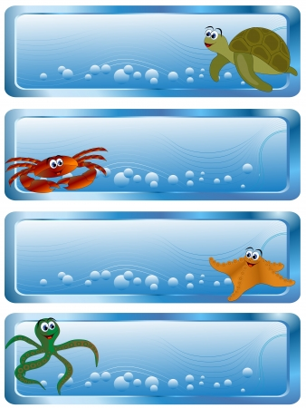 Sea banners with cartoon animals and bubbles Vector