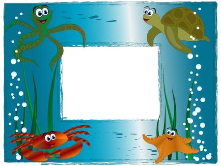 Cornice di mare con gli animali dei cartoni animati e le bolle