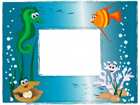 Sea photo frame with cartoon animals and bubbles Vector