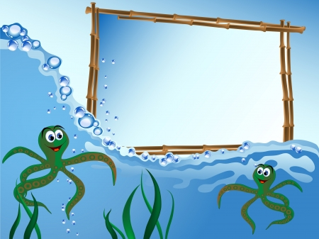 Bamboo frame on the sea level with octopus Vector