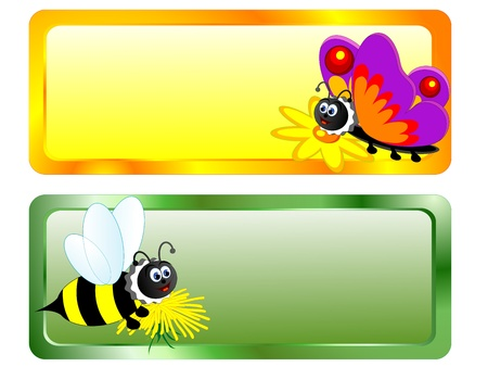 exotic butterflies: Blank banners with cartoon bee and butterfly