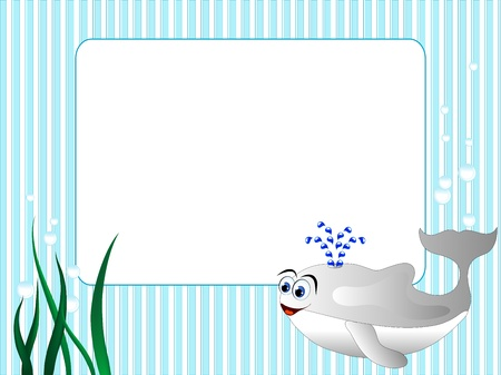 name tag: Blue stripped background with grass and whale Illustration