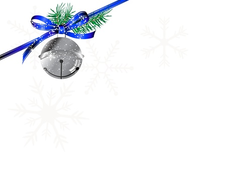 Snowy blue bow, ribbon and jingle bells