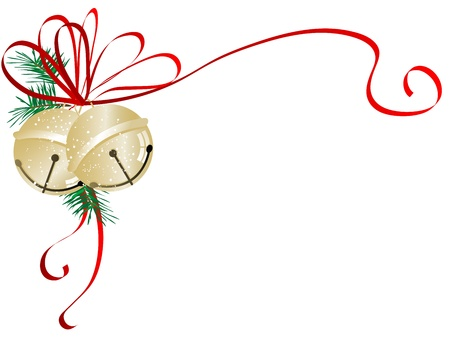Two golden jingle bells with red ribbon