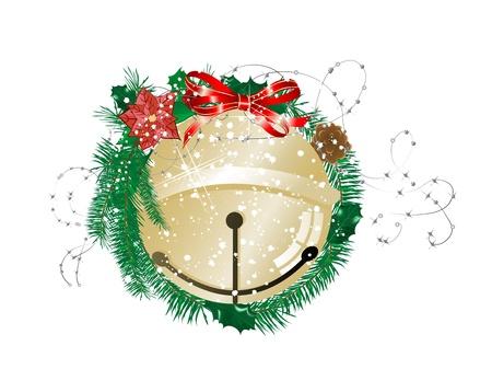 jingle bell: Golden jingle bell in green christmas wreath