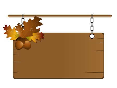 Wooden frame with orange autumn leaves and acorns Vector