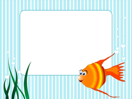 Blue stripped background with grass and fish Vector