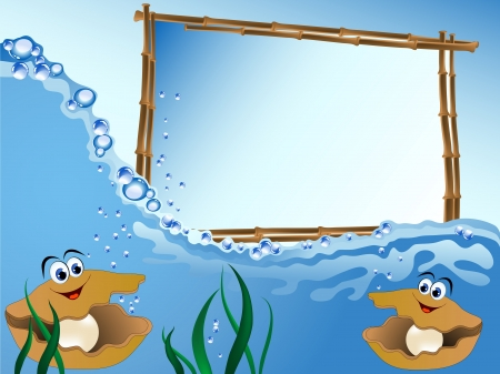 Bamboo frame on the sea level with pearl oysters Vector
