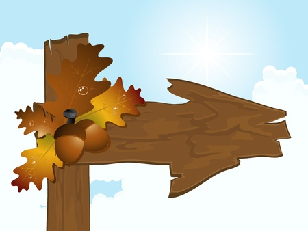 Wooden arrow with oak autumn leaves and acorns Vector