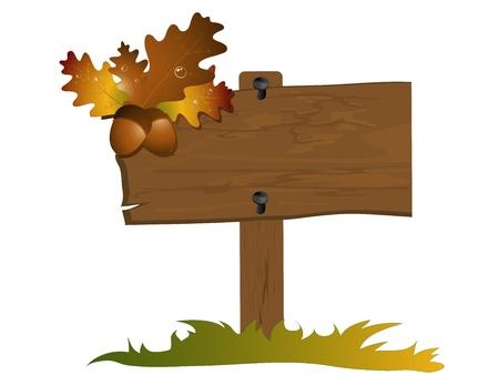 오렌지가 잎과 도토리 추상 프레임 일러스트