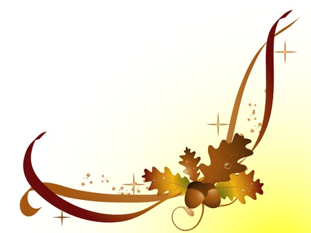 Abstract frame with orange autumn leaves and acorns Vector