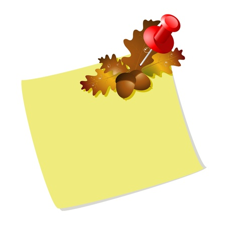 Blank paper with orange autumn leaves and acorns Vector