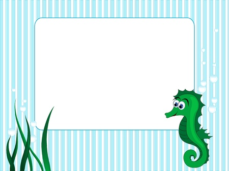 Blue stripped background with grass and sea horse Vector
