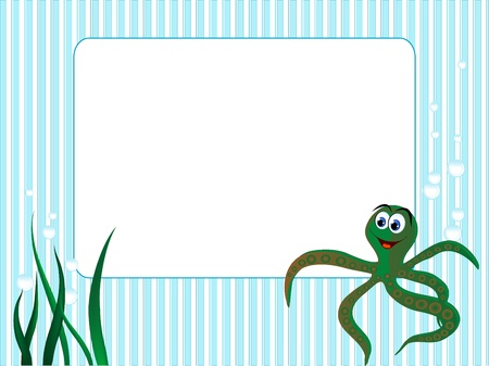 Blue stripped background with grass and octopus Vector