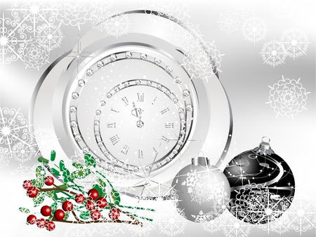 Christmas background with black ball and clock Vector