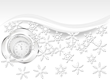 brilliancy: Christmas background with black ball and clock Illustration