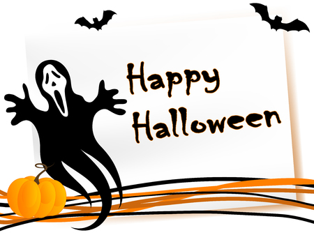 Halloween card with pumpkin, ghost and bats Vector