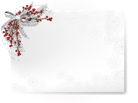 銀のリボンと赤い漿果をつけるクリスマスの花輪