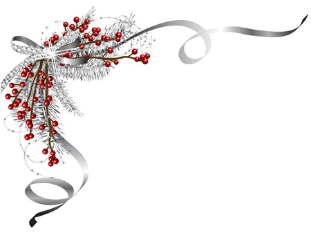 holly leaf: Silver Christmas garland with ribbon and red berries