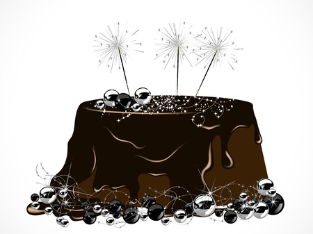 sparkler: Luxury Christmas cake with chocolate and sparklers Illustration