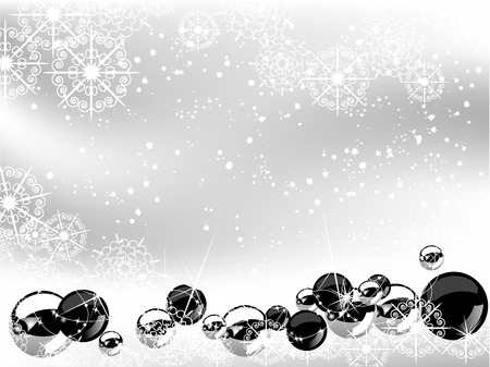 Christmas background with black and silver balls Stock Vector - 23124444