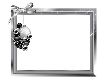 fantasize: Marco de plata con diamantes arco y las pelotas Vectores