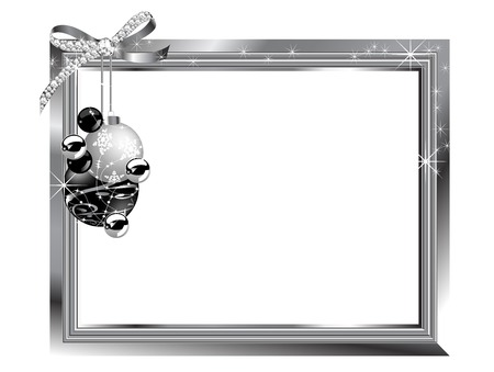 Silver frame with diamond bow and balls Vector