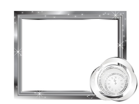 Silver frame with luxury New year clock Vector