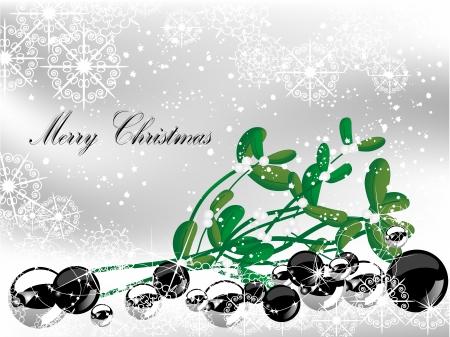 fantasize: Fondo de Navidad con bolas de nieve y mu�rdago