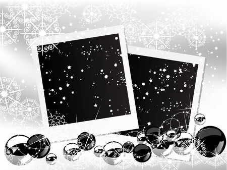 Christmas background with snowy balls and photo frames Stock Vector - 23126362