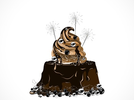 Luxury Christmas cake with chocolate and sparklers Vector