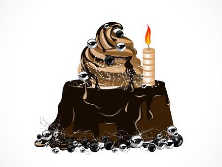 gateau de noel: Luxe g�teau de No�l au chocolat et aux cierges magiques Illustration