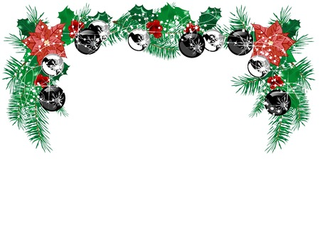 Christmas garland with needles and black and silver balls Vector