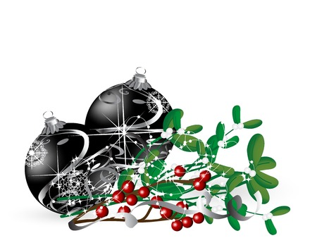 luminary: Christmas background with black balls and mistletoe Illustration