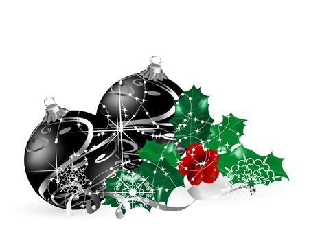 luminary: Christmas background with black balls and berries Illustration