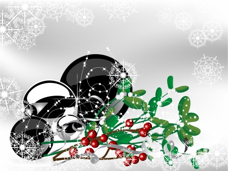 Christmas background with snowy balls and mistletoe