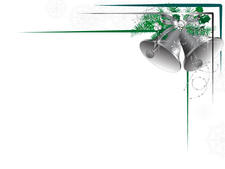 Silver bells with bow and green needles Vector