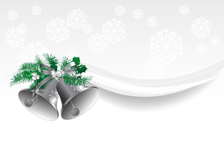campanas de navidad: Campanas de plata con las olas y los copos de nieve Vectores