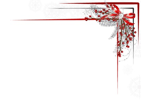 Silver Christmas garland with ribbon and red berries Stok Fotoğraf - 23856392