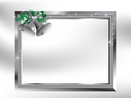 Silver bells with bow and needles in the frame Vector