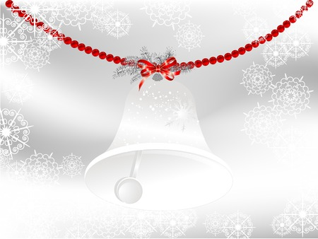 silver star: Glass bell with red bow and pearls