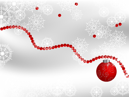 luminary: Christmas background with red pearls and ball Illustration