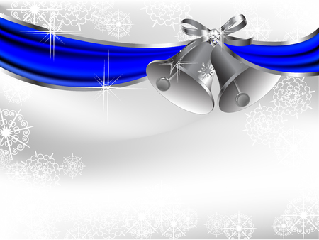 Blue curtain and two luxury silver bells Vector