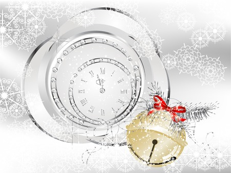 Christmas background with jingle bell and clock Vector