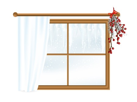wooden window: Winter scene with icycles in wooden window