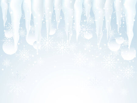 snowscene: Abstract winter background with icicles and snowflakes Illustration