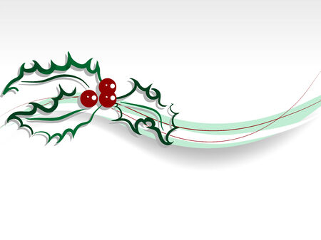Christmas holly with red berries and green abstract wave Vector